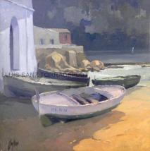 Marina Calella Palafrugell Oli sobre tela 55 x 55
