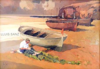 Pescador a Llançà Oli sobre tela 65 x 95