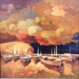 Port de Llançà Oli sobre tela 100 x 100